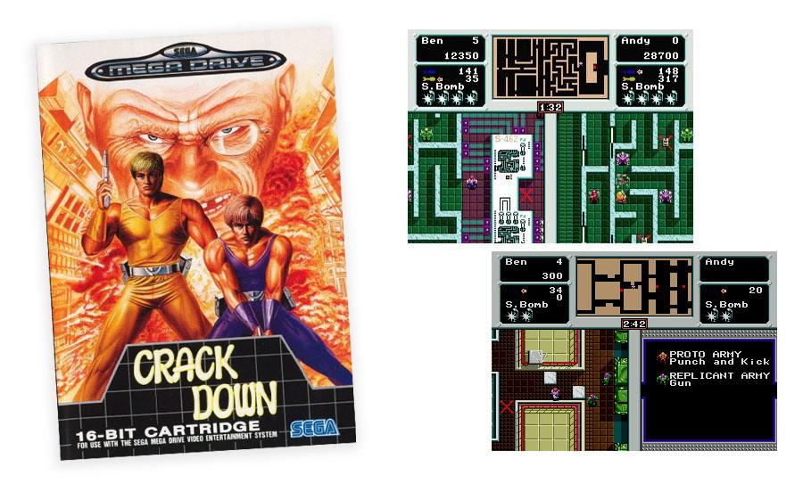 Alkuperäinen Crack Down kansikuva 90-luvulta sekä pelikuvaa.