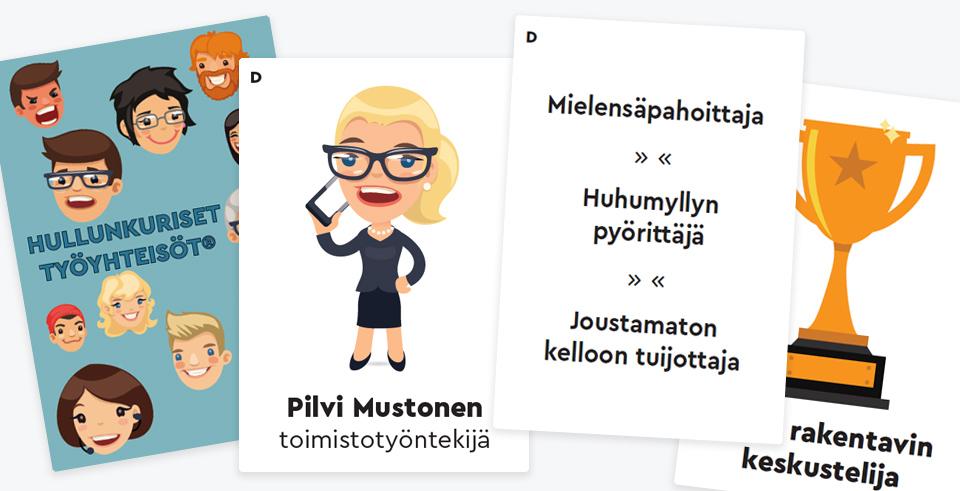 Erilaisia kortteja Hullunkuriset työyhteisöt -pelistä